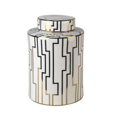 white & gold jar large
